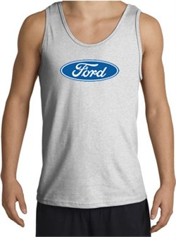 Image of Ford Logo Tank Top - Oval Emblem Classic Car Adult Ash Tanktop