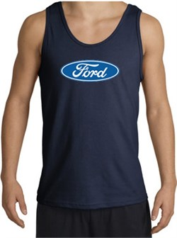 Image of Ford Logo Tank Top - Oval Emblem Classic Car Adult Navy Tanktop