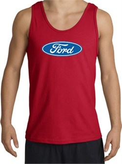 Image of Ford Logo Tank Top - Oval Emblem Classic Car Adult Red Tanktop