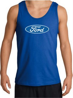Image of Ford Logo Tank Top - Oval Emblem Classic Car Adult Royal Tanktop