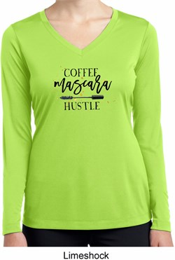 Image of Coffee Mascara Hustle Ladies Moisture Wicking Long Sleeve Shirt