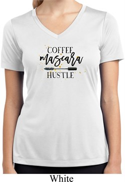 Image of Coffee Mascara Hustle Ladies Moisture Wicking V-neck Shirt