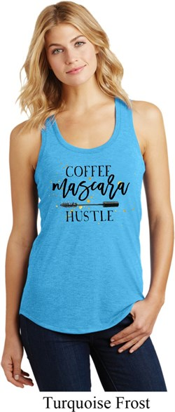 Image of Coffee Mascara Hustle Ladies Racerback Tank Top