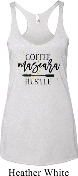 Image of Coffee Mascara Hustle Ladies Tri Blend Racerback Tank Top