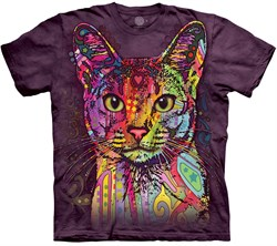 Image of Colorful Cat Shirt Tie Dye Adult T-Shirt Tee