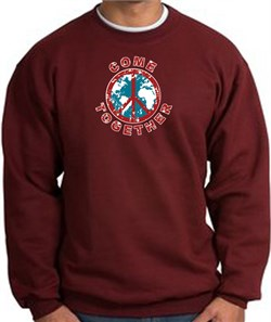 Image of COME TOGETHER World Peace Sign Symbol Adult Sweatshirt - Maroon