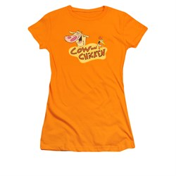 Cow & Chicken Shirt Juniors Logo Orange Tee T-Shirt