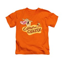 Cow & Chicken Shirt Kids Logo Orange Youth Tee T-Shirt