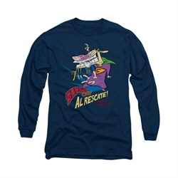 Image of Cow & Chicken Shirt Super Cow Long Sleeve Navy Tee T-Shirt