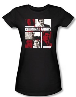 Image of Criminal Minds Juniors T-shirt Character Boxes Black Tee Shirt