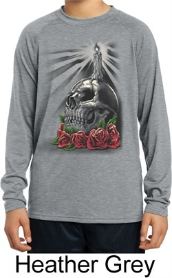 Image of Day of the Dead Candle Skull Kids Dry Wicking Long Sleeve Shirt