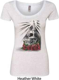 Image of Day of the Dead Candle Skull Ladies Heather White Scoop Neck Shirt