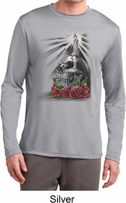 Image of Day of the Dead Candle Skull Mens Dry Wicking Long Sleeve Shirt