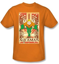 Image of Aquaman T-shirt - DC Comics Aquaman Adult Orange Tee