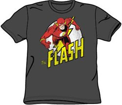 The Flash T-shirt - DC Comics Run Flash Run Adult Charcoal Tee