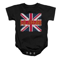 Image of Def Leppard Baby Romper Union Jack Black Infant Babies Creeper