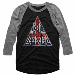 Image of Def Leppard Shirt Raglan Union Jack Logo Triangle Black/Grey Shirt