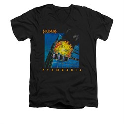 Image of Def Leppard Shirt Slim Fit V-Neck Pyromania Black T-Shirt