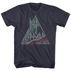 Image of Def Leppard Shirt Triangle Band Logo Navy Heather T-Shirt