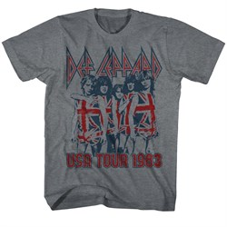 Image of Def Leppard Shirt USA Tour 1983 Grey Tee T-Shirt