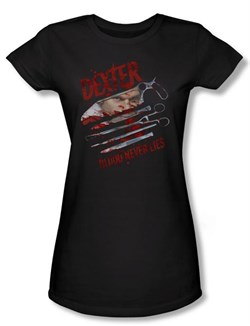Image of Dexter Juniors Shirt Blood Never Lies Black T-shirt Tee