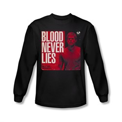Image of Dexter Shirt Blood Never Lies Long Sleeve Black Tee T-Shirt