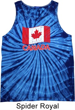 Image of Distressed Canada Flag Tie Dye Tank Top
