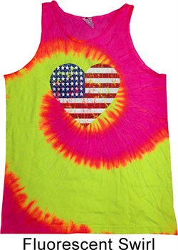 Image of Distressed USA Heart Tie Dye Tank Top