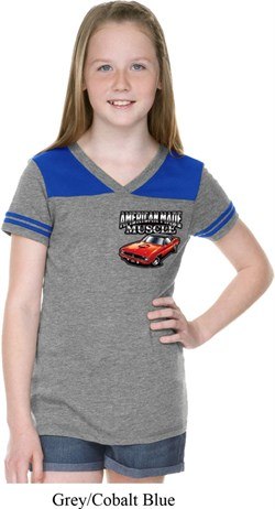 Image of Dodge American Made Muscle Pocket Print Girls Football Shirt