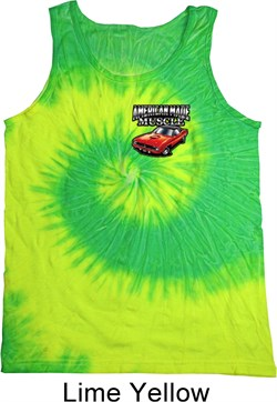 Image of Dodge American Made Muscle Pocket Print Tie Dye Tank Top