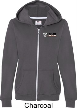 Image of Dodge Hemi Pocket Print Ladies Full Zip Hoodie