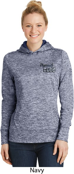 Image of Dodge Plymouth Cuda Pocket Print Ladies Moisture Wicking Hoodie