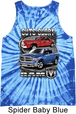 Image of Dodge Tanktop Guts and Glory Ram Trucks Tie Dye Tank Top