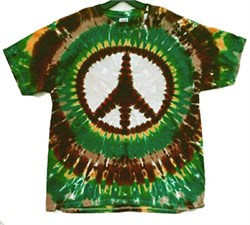 Image of Earth Peace Sign Tie-Dye T-Shirt - Short Sleeve