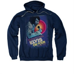 Image of Elvis Presley Hoodie On Tour Poster Navy Sweatshirt Hoody