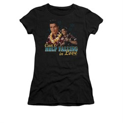 Image of Elvis Presley Shirt Juniors Can't Help Falling Black T-Shirt