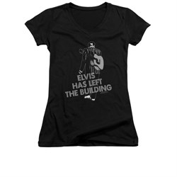 Image of Elvis Presley Shirt Juniors V Neck Left The Building Black T-Shirt
