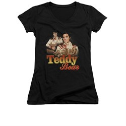 Elvis Presley Shirt Juniors V Neck Teddy Bears Black T-Shirt
