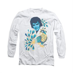 Elvis Presley Shirt Peacock Long Sleeve White Tee T-Shirt