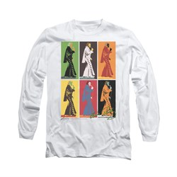 Image of Elvis Presley Shirt Retro Boxes Long Sleeve White Tee T-Shirt