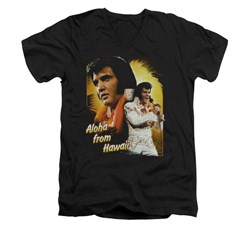 Elvis Presley Shirt Slim Fit V-Neck Aloha Sing It Black T-Shirt