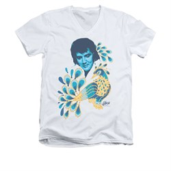 Elvis Presley Shirt Slim Fit V-Neck Peacock White T-Shirt