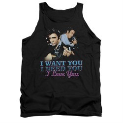 Image of Elvis Presley Shirt Tank Top I Want You Black Tanktop