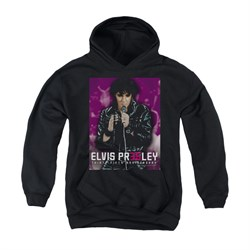 Image of Elvis Presley Youth Hoodie 35 Leather Black Kids Hoody