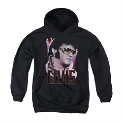 Image of Elvis Presley Youth Hoodie 70's Star Poster Black Kids Hoody