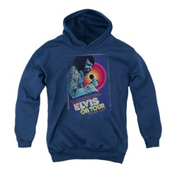 Image of Elvis Presley Youth Hoodie On Tour Poster Navy Kids Hoody