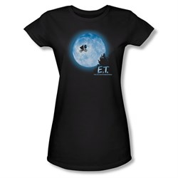 Image of ET Shirts - Extra Terrestrial Shirt Juniors Moon Scene Black Tee T-Shirt