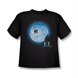 Image of ET Shirts - Extra Terrestrial Shirt Kids Moon Scene Black Youth Tee T-Shirt
