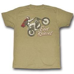 Evel Knievel Shirt Evel Wheelie Adult Heather Sand Tee T-Shirt