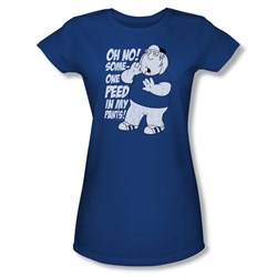 Family Guy Shirt Juniors Peed Royal Blue T-Shirt